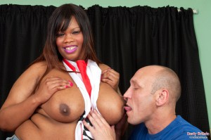 Busty Cookie goes to town on her white lover